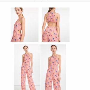 Zara Pink Floral Jumpsuit Size M.